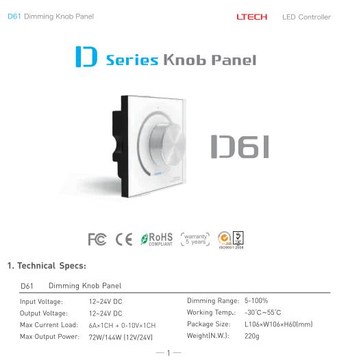 D61_Dimming_Knob_Panel_LTECH_Controller_1