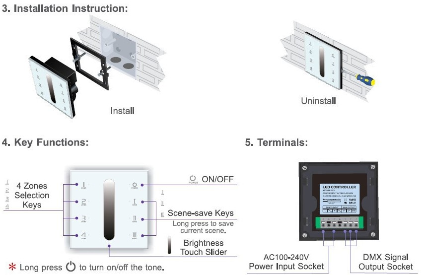DX5_Wireless_LED_Controller_Dimming_Touch_Panel_Multi_Zone_Dimmer_user_manual