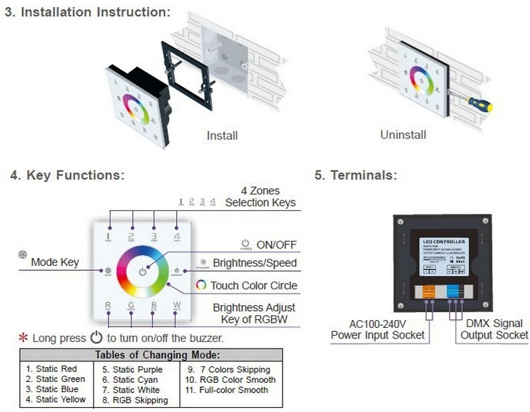 DX8_RGBW_RGB_LED_Controller_Touch_Panel_4_Zones_RF_2.4G_DMX512_control_user_manual
