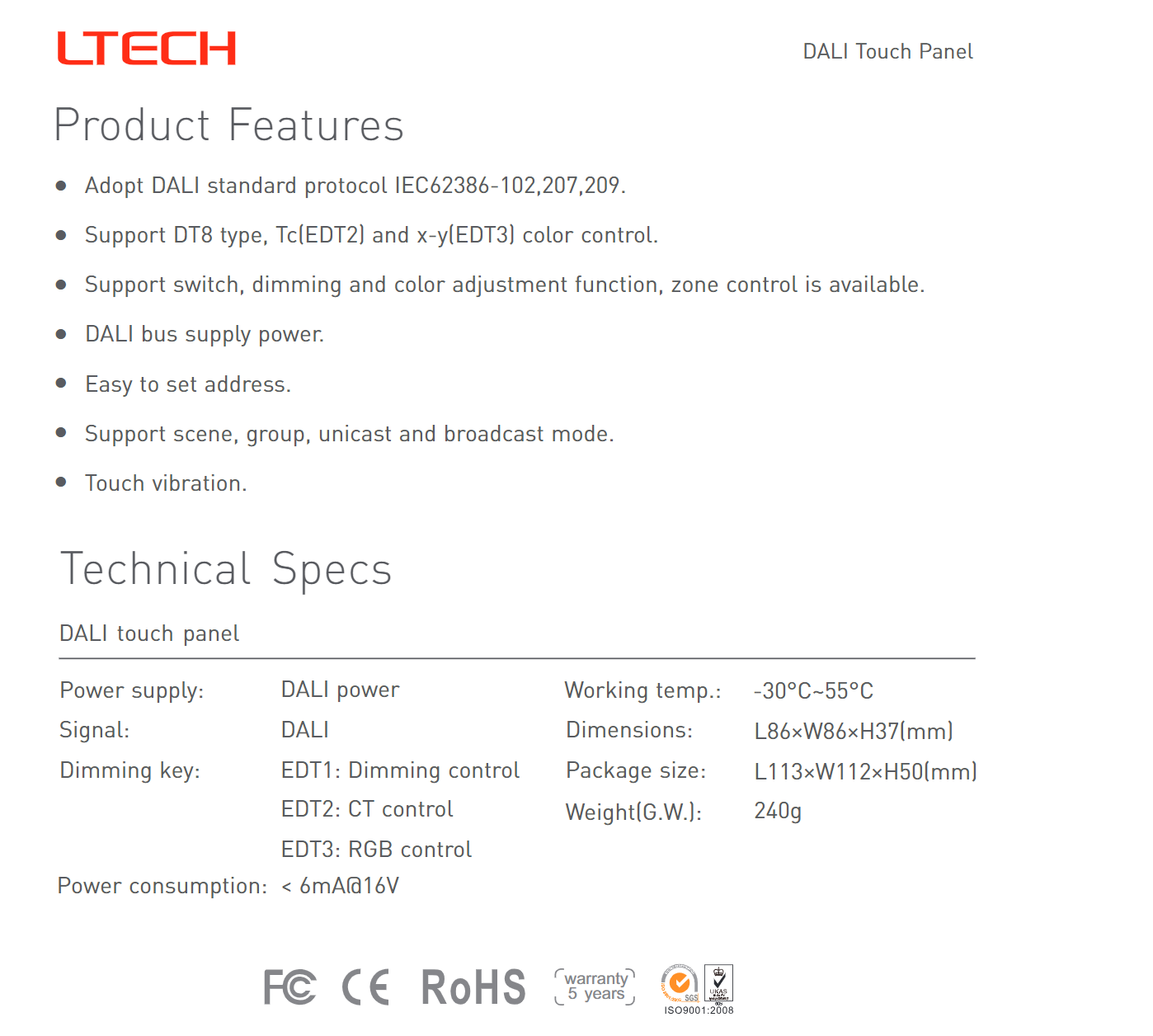 Ltech_EDT2_DALI_CT_Touch_Panel_Master_Led_Controller_2