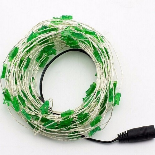 Christmas Tree Shaped Green Copper Wire Light String 10m 100LED 12V
