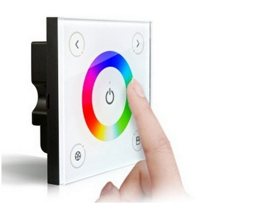 RGB_LED_Controller_Glass_Touch_Panel_Wall_Mount_Full_Color_Console_D3_contolling