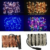 12V DC 10M/20M/30M/50M Led Silver Copper Wire Christmas Fairy String Light